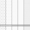 Set of seamless patterns with circles and dots. Royalty Free Stock Photo