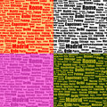 Set of seamless patterns with cities names Stock Photo