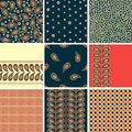 Set of seamless patterns on a dark background of t Royalty Free Stock Photo