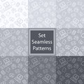Set seamless patterns with email in grey colors notebook mobile telephone letter envelope symbol Royalty Free Stock Photography