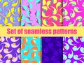 Set of seamless patterns with female faces. Zine culture colorful background. Pop art color palette. Vector Royalty Free Stock Photo