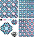 Set of seamless patterns floral ornaments and el elements decor Royalty Free Stock Photography