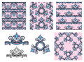 Set of seamless patterns - floral ornaments and elements. Royalty Free Stock Photo