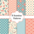 Set of seamless patterns. Floral, zigzag, cross, dotted background. Vector illustration