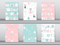 Set of seamless patterns with funny cartoon animals,bear,cat,bird,Vector illustrations Royalty Free Stock Photo