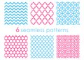 Set of seamless patterns. Geometric backgrounds. Abstract textures. Mermaid pattern. Chevron backdrop. Hexagon Royalty Free Stock Photo