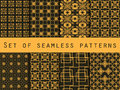 Set of seamless patterns. Geometric patterns. Black and yellow color. For wallpaper, bed linen, tiles, fabrics, backgrounds.