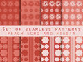 Set of seamless patterns. Geometric patterns. Peach echo and fiesta color. Color trend in 2016. Vector illustration. Royalty Free Stock Photo