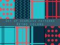 Set of seamless patterns. Geometric seamless pattern. Retro colo Royalty Free Stock Photo