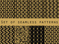 Set of seamless patterns with geometric shapes. The pattern for wallpaper, tiles, fabrics and designs.