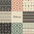 Set of seamless patterns with geometric shapes, succulents and cacti. Eight textures.