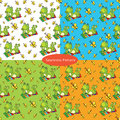 Set of seamless patterns with with a green frog lies on the colo
