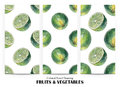 Set of seamless patterns with green limes drawn by hand with colored pencil