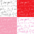 Set of seamless patterns with hand drawn hearts an and text i love you valentines day or wedding backgrounds Stock Image