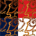 Set of seamless patterns with handdrawn Gold chains Royalty Free Stock Photo