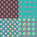 Set of seamless patterns hearts circles flowers leaves Royalty Free Stock Images