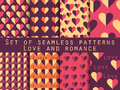 Set of seamless patterns with hearts. The inscription letters. Festive pattern for wrapping paper, wallpaper, tiles, fabrics, back Royalty Free Stock Photo