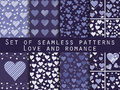 Set of seamless patterns with hearts. Valentine's Day. Royalty Free Stock Photo