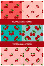 Set of seamless patterns with juicy cherry Stock Photo