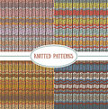 Set of seamless patterns with knitted stripes texture. Royalty Free Stock Photo