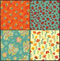 Set of seamless patterns with ladybirds and butterflies Royalty Free Stock Image