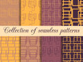 Set seamless patterns with lines and squares. The pattern for wallpaper, bed linen, tiles, fabrics, backgrounds. Royalty Free Stock Photo