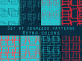 Set seamless patterns with lines and squares. Retro colors, blue, red and dark blue.
