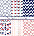 Set of seamless patterns with a maritime theme. Ship and sail, sea shell, sea waves. Marine background. Royalty Free Stock Photo