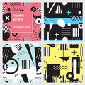 Set of seamless patterns in memphis style. Black and white geometric elements on colorful background.