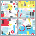 Set of seamless patterns in memphis style. Colorful and striped geometric elements on white background with neon colors.