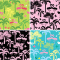 Set of seamless patterns with palm trees butterflies and flamingos ready to use as swatch Stock Image
