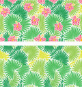 Set of seamless patterns with palm trees leaves and frangipani flowers Stock Photography
