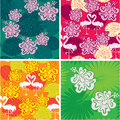 Set of seamless patterns with palm trees leaves frangipani flowers and flamingos ready to use as swatch Stock Photography