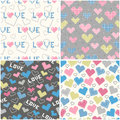Set of seamless patterns with pixel hearts for textiles interior design for book design website background Royalty Free Stock Photos