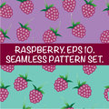 Set of seamless patterns with raspberries. Delicious red berries.