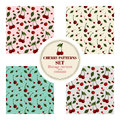 Set of seamless patterns with red cherries.