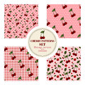 Set of seamless patterns with red cherries