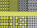 Set of seamless patterns. Rhombus and squares. Retro colors.