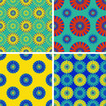Set of seamless patterns with round elements. Royalty Free Stock Photo