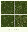 Set of seamless patterns. Spirals and circles color green Royalty Free Stock Photo