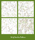 Set of seamless patterns. Spirals and circles Royalty Free Stock Photo