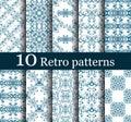 Set of 10 seamless retro patterns Royalty Free Stock Image