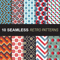 Set of seamless retro patterns vector set for background and wallpaper Royalty Free Stock Photo