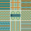 Set of seamless serpentine patterns in retro color palette Royalty Free Stock Photo