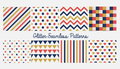 Set of seamless simple cute baby patterns with glitter elements. Includes blue, red and golden stars, hears, stripes, zigzag, flag