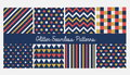 Set of seamless simple cute baby patterns with glitter elements. Includes white, red and golden stars, hears, stripes, zigzag, fla