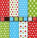 Set seamless textures for winter holidays illustration colorful patterns vector Stock Image