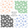 Set of seamless vector abstract pattern. geometric background with circles, squares, triangles. Grunge texture with attrition, cra Royalty Free Stock Photo
