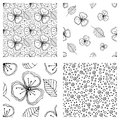 Set of seamless vector floral patterns. Black and white hand drawn background with flowers, leaves, decorative elements. Graphic i Royalty Free Stock Photo
