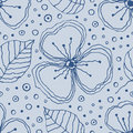 Set of seamless vector floral patterns. Blue hand drawn background with flowers, leaves, decorative elements. Graphic illustration Royalty Free Stock Photo